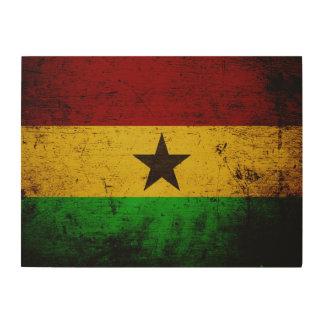 Schwarze Schmutz-Ghana-Flagge Holzleinwand