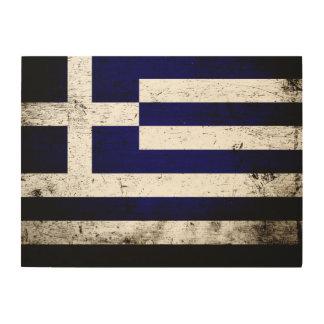 Schwarze Schmutz-Griechenland-Flagge Holzleinwand