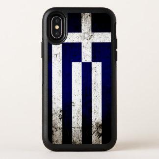 Schwarze Schmutz-Griechenland-Flagge OtterBox Symmetry iPhone X Hülle