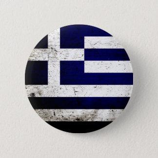 Schwarze Schmutz-Griechenland-Flagge Runder Button 5,1 Cm