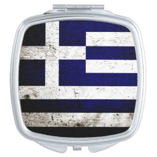 Schwarze Schmutz-Griechenland-Flagge Schminkspiegel