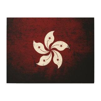 Schwarze Schmutz-Hong Kong-Flagge Holzdruck
