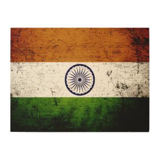 Schwarze Schmutz-Indien-Flagge Holzleinwand