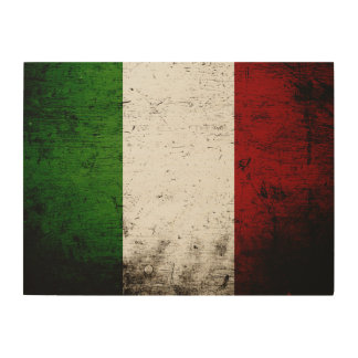 Schwarze Schmutz-Italien-Flagge Holzleinwand