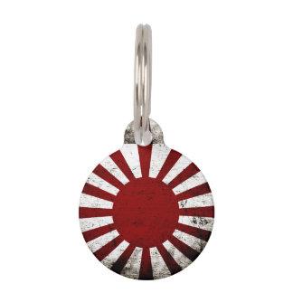 Schwarze Schmutz-Japan-aufgehende Sonne-Flagge Haustiermarke