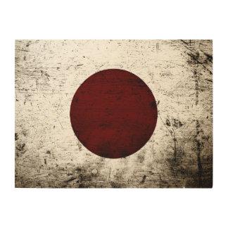 Schwarze Schmutz-Japan-Flagge Holzwanddeko