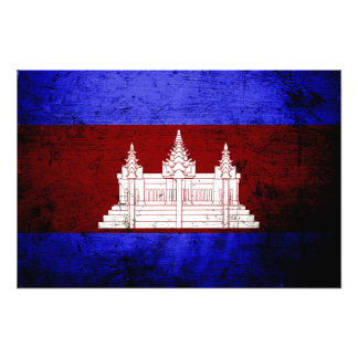 Schwarze Schmutz-Kambodscha-Flagge Fotodruck