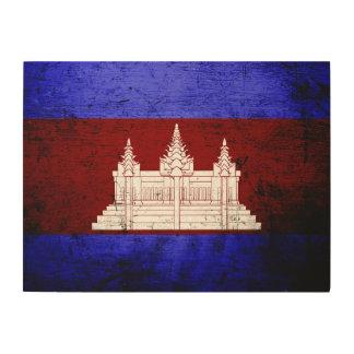 Schwarze Schmutz-Kambodscha-Flagge Holzleinwand