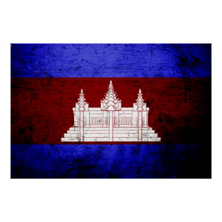 Schwarze Schmutz-Kambodscha-Flagge Poster