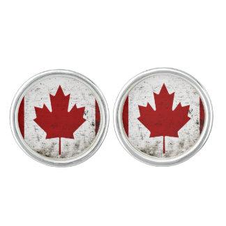 Schwarze Schmutz-Kanada-Flagge Manschetten Knöpfe