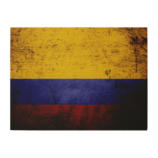 Schwarze Schmutz-Kolumbien-Flagge Holzleinwand