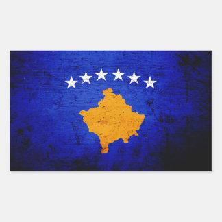Schwarze Schmutz-Kosovo-Flagge Rechteckiger Aufkleber