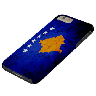 Schwarze Schmutz-Kosovo-Flagge Tough iPhone 6 Plus Hülle