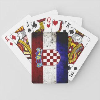 Schwarze Schmutz-Kroatien-Flagge Spielkarten