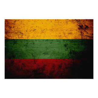 Schwarze Schmutz-Litauen-Flagge Fotodruck