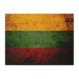 Schwarze Schmutz-Litauen-Flagge Holzdruck