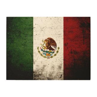 Schwarze Schmutz-Mexiko-Flagge Holzleinwand