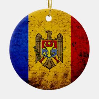 Schwarze Schmutz-Moldau-Flagge Rundes Keramik Ornament