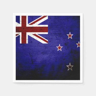 Schwarze Schmutz-Neuseeland-Flagge 1 Papierserviette