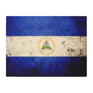 Schwarze Schmutz-Nicaragua-Flagge Holzwanddeko