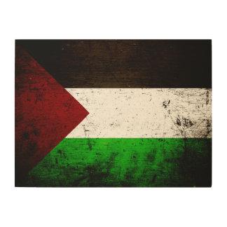 Schwarze Schmutz-Palästina-Flagge Holzdruck