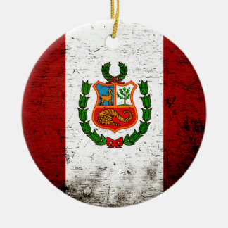 Schwarze Schmutz-Peru-Flagge Keramik Ornament