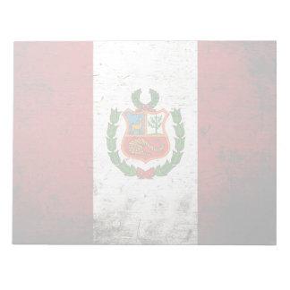 Schwarze Schmutz-Peru-Flagge Notizblock