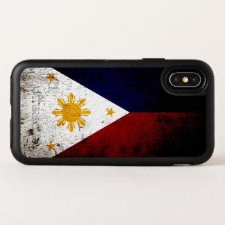 Schwarze Schmutz-Philippinen-Flagge OtterBox Symmetry iPhone X Hülle