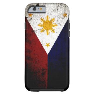 Schwarze Schmutz-Philippinen-Flagge Tough iPhone 6 Hülle
