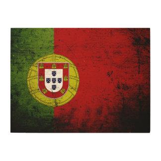 Schwarze Schmutz-Portugal-Flagge Holzdruck