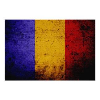 Schwarze Schmutz-Rumänien-Flagge Fotodruck