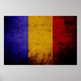 Schwarze Schmutz-Rumänien-Flagge Poster