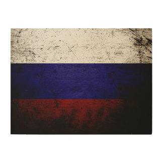 Schwarze Schmutz-Russland-Flagge Holzleinwand