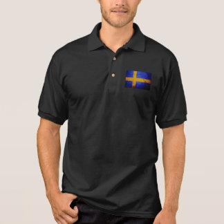 Schwarze Schmutz-Schweden-Flagge Polo Shirt