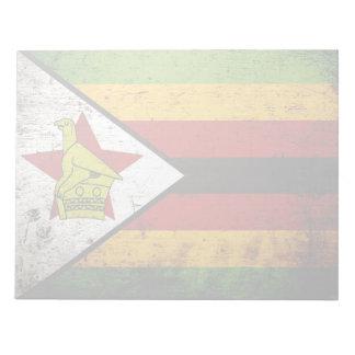 Schwarze Schmutz-Simbabwe-Flagge Notizblock