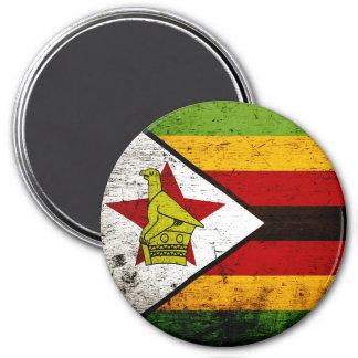 Schwarze Schmutz-Simbabwe-Flagge Runder Magnet 7,6 Cm