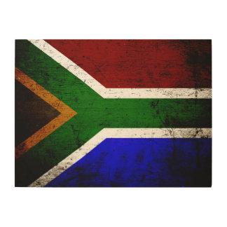 Schwarze Schmutz-Südafrika-Flagge Holzdruck