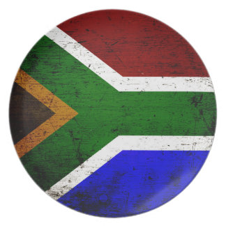 Schwarze Schmutz-Südafrika-Flagge Melaminteller