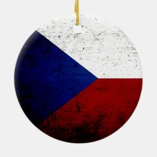 Schwarze Schmutz-Tschechische Republik-Flagge Rundes Keramik Ornament