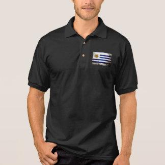 Schwarze Schmutz-Uruguay-Flagge Polo Shirt