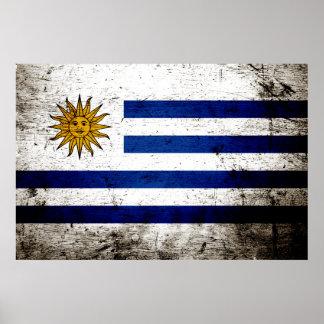 Schwarze Schmutz-Uruguay-Flagge Poster