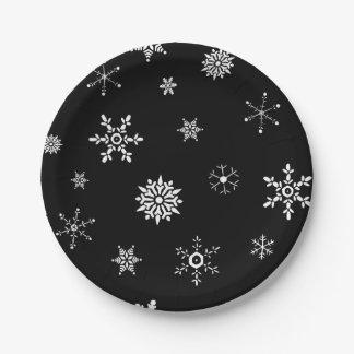 Schwarze Schneeflocke Pappteller