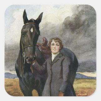 Schwarze Schönheit - sie wählte mich für ihr Pferd Quadratischer Aufkleber