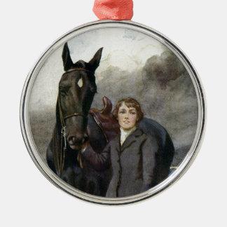 Schwarze Schönheit - sie wählte mich für ihr Pferd Rundes Silberfarbenes Ornament