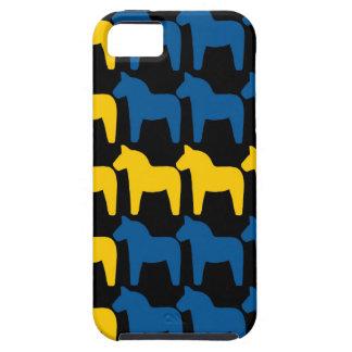 Schwarze schwedische Flagge mit Pferd iPhone 5 Hüllen