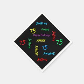 Schwarze Servietten, 75. Geburtstags-Party, das Papierserviette