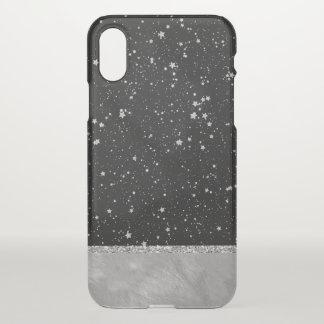 Schwarze Silber-Sterne iPhone X Hülle