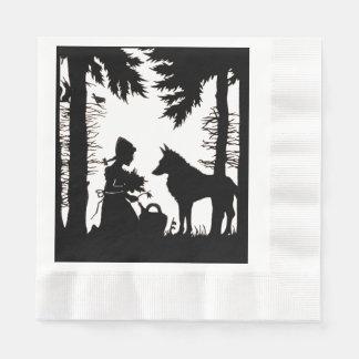 Schwarze Silhouette-rotes Reithauben-Wolf-Holz Papierserviette