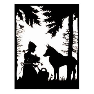 Schwarze Silhouette-rotes Reithauben-Wolf-Holz Postkarte