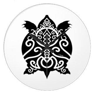Schwarze Silhouettesnapper-Schildkröte Große Wanduhr